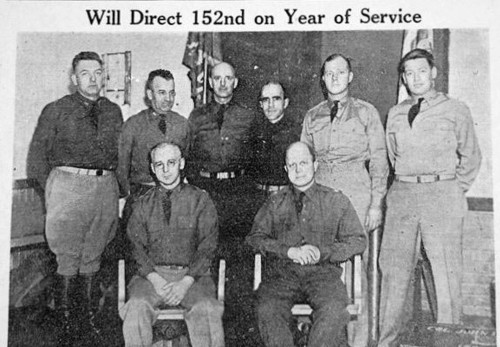 News photo of 152nd Regiment officers as they prepare to leave for active duty training. My father, Capt. Wilber E. Bradt  is on the far left,  [Photo: Bangor Daily News, March 15, 1941, front page]
