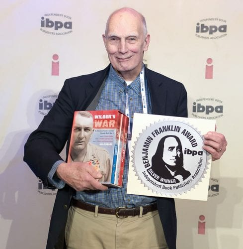 "Hale Bradt with the Silver Medal plaque at the IBPA ""University"" in Salt Lake City. April 2016."